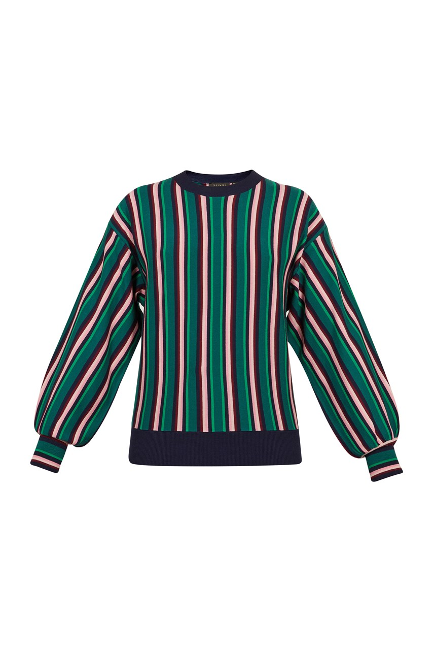 Kionai Striped Balloon Sleeve Knit