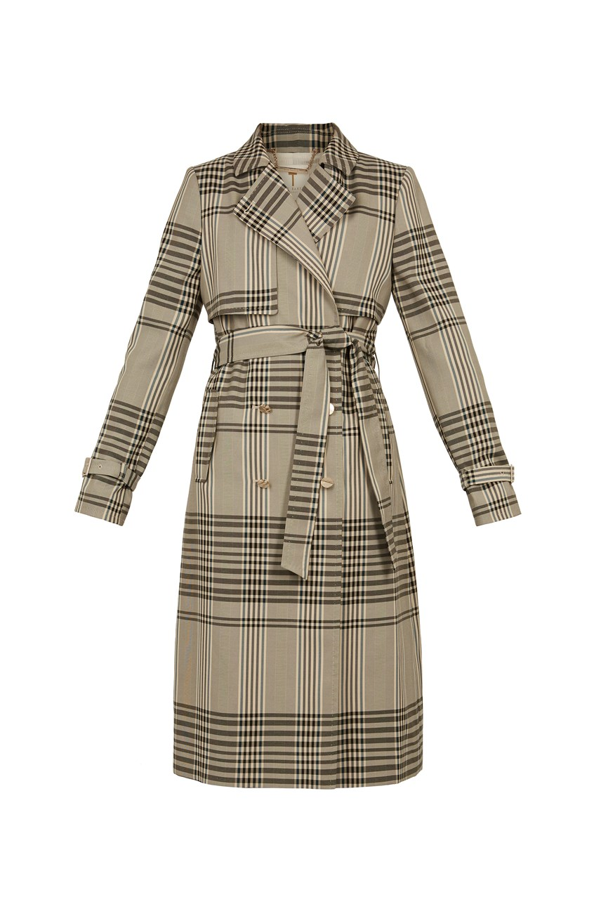 Cristta Plaid Trench Coat