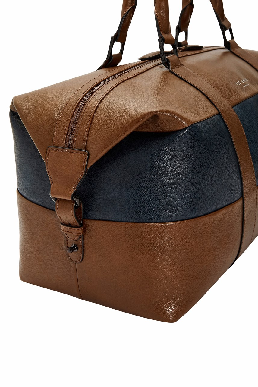 Striped Leather Holdall