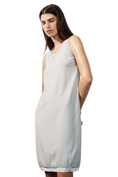 Double-Layer Sleeveless Cotton Dress SILVER WHITE 1