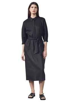 Belted Shirt Linen Dress BLACK 1