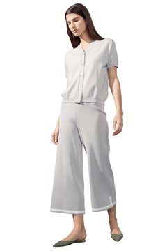 Contrast Trim Pull-On Trousers SILVER MILK 1