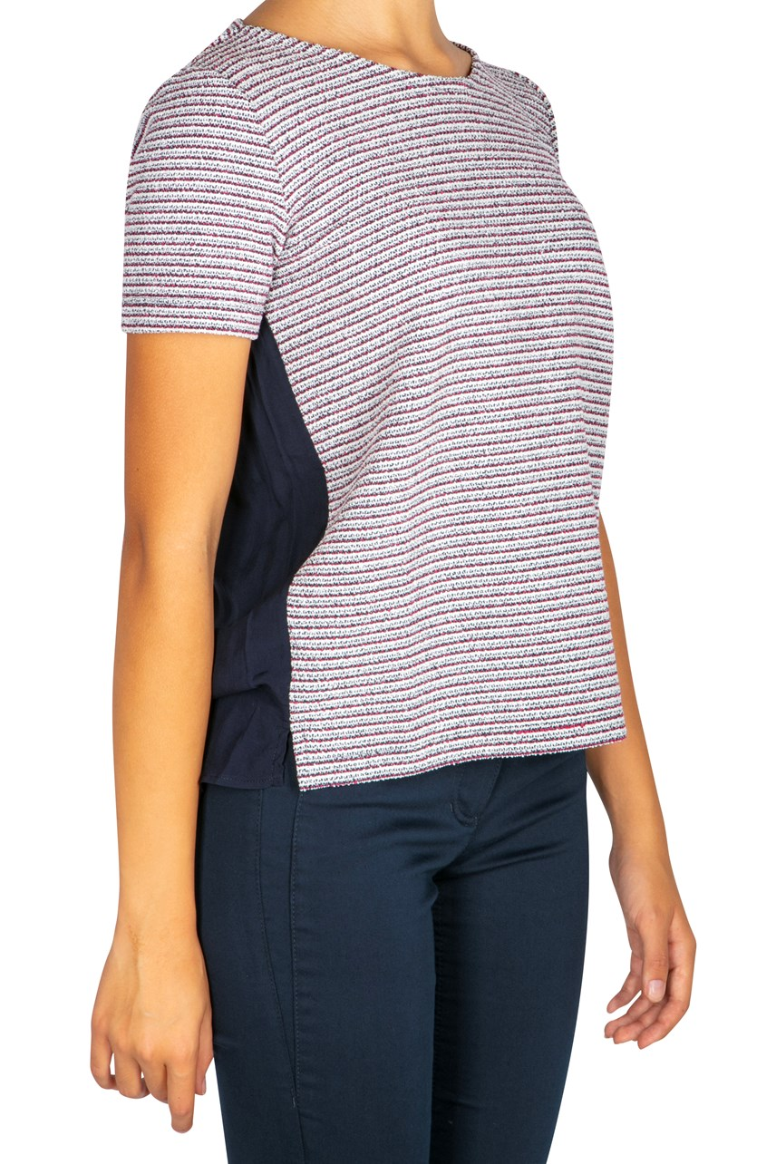 Stripe Tee With Colour Block Back