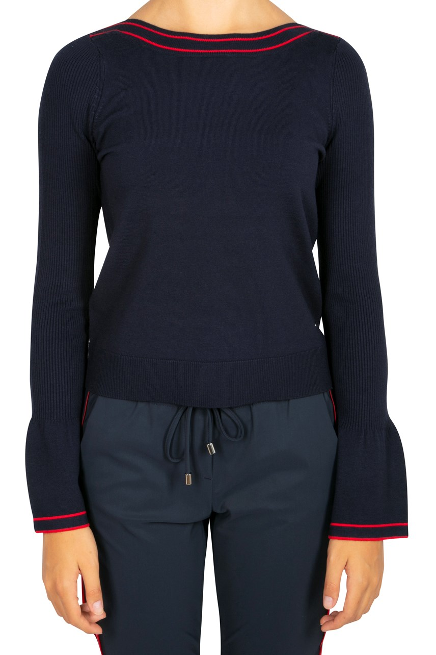 Flare Sleeve Pullover With Contrast Trim