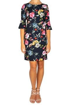 Botanical Flare Sleeve Shift Dress - 8011