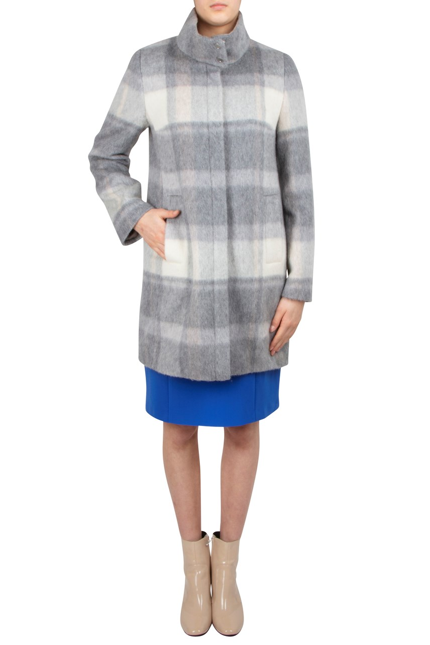 Plaid Funnel Neck Wool Coat