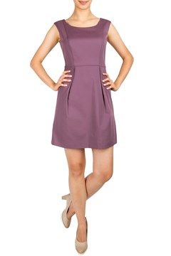 Box Pleat Cap Sleeve Shift Dress EGGPLANT 1