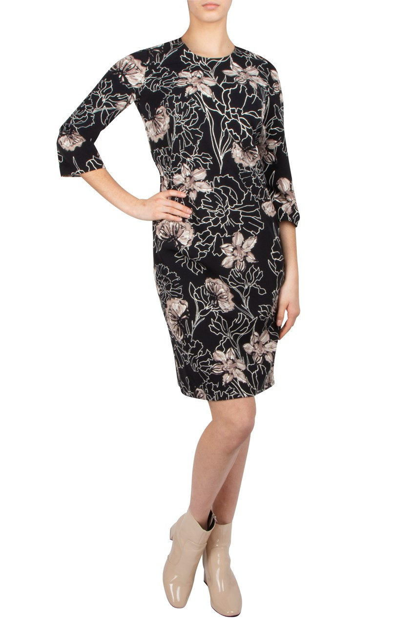 Floral Round Neck Shift Dress