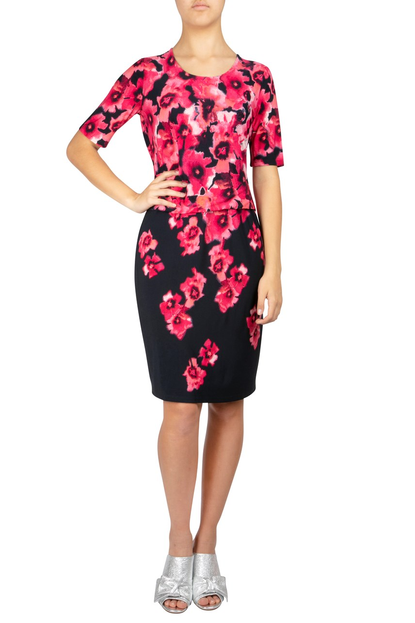 Graduated Floral Shift Dress
