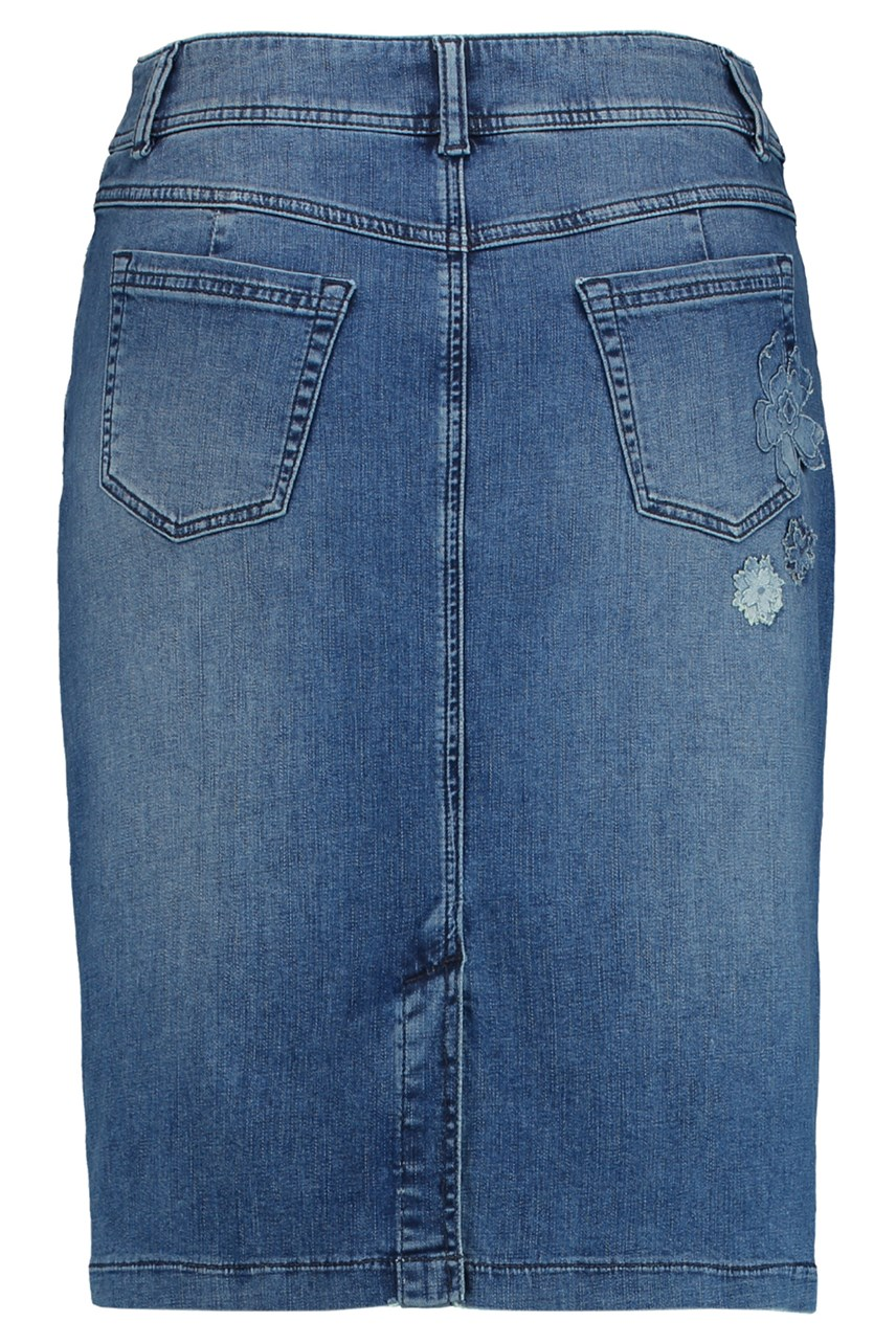 Denim Skirt With Floral Applique
