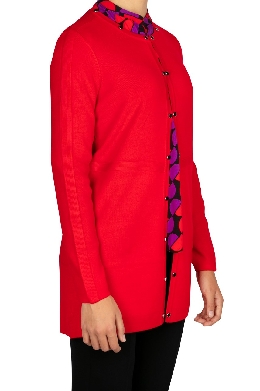 Longline Cardigan With Contrasting Buttons