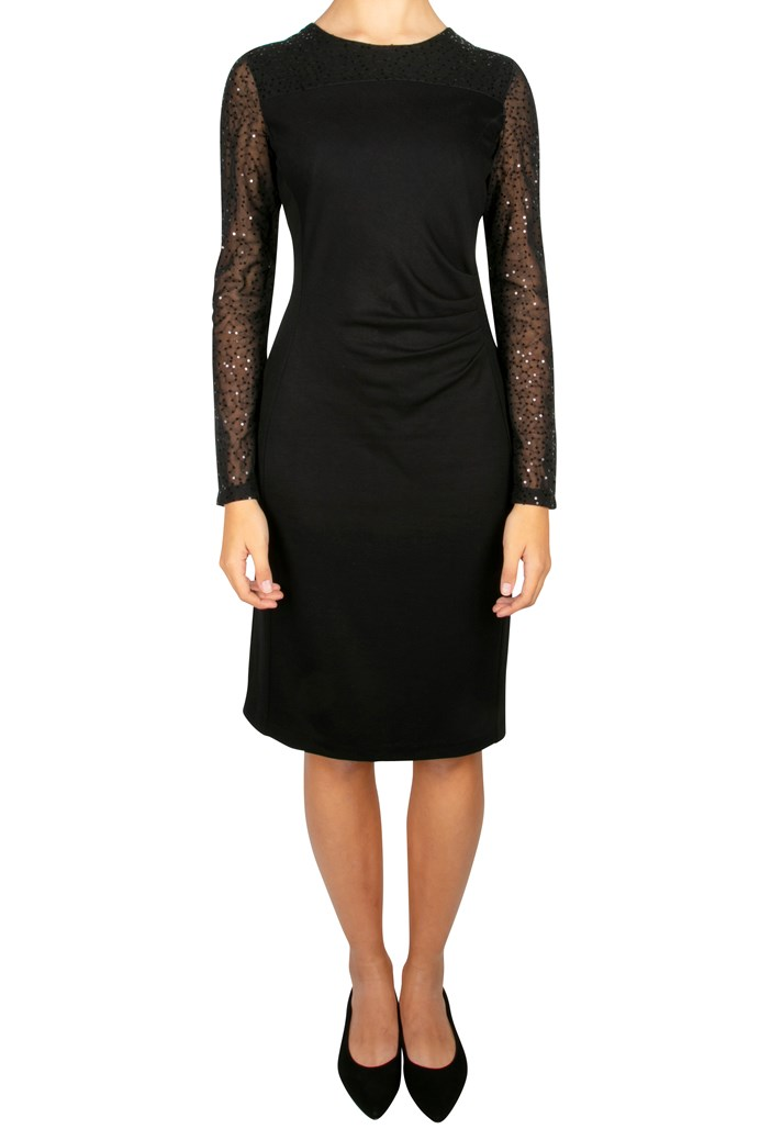 Sequin Sleeve Ruched Dress