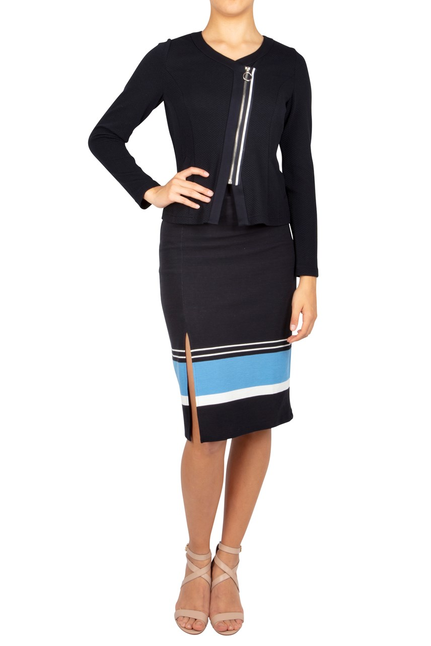 Stripe Ribbed Pencil Skirt