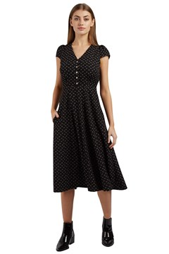 Cathleen Midi Fantail Dress BLACK 1
