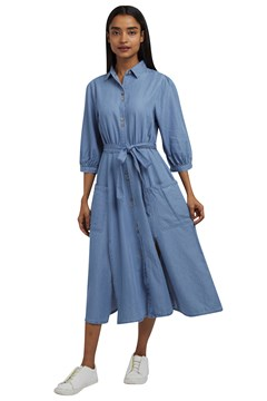 Lilwenn Chambray Midi Dress CHAMBRAY 1