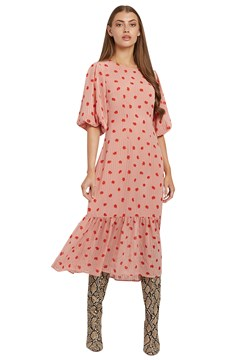 Zeyneb Oakleaf Midi Dress PINK 1