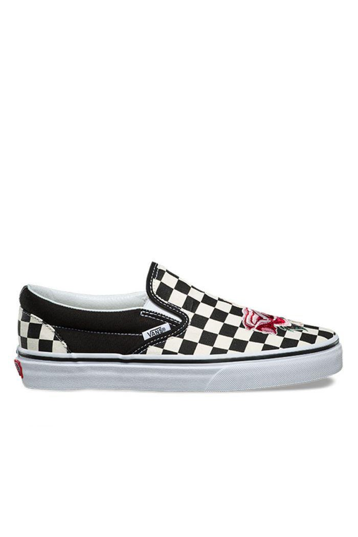 Classic Slip On Satin Patchwork Checkerboard Sneaker