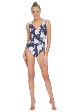 Wild Blooms Gathered Swimsuit - charcoal
