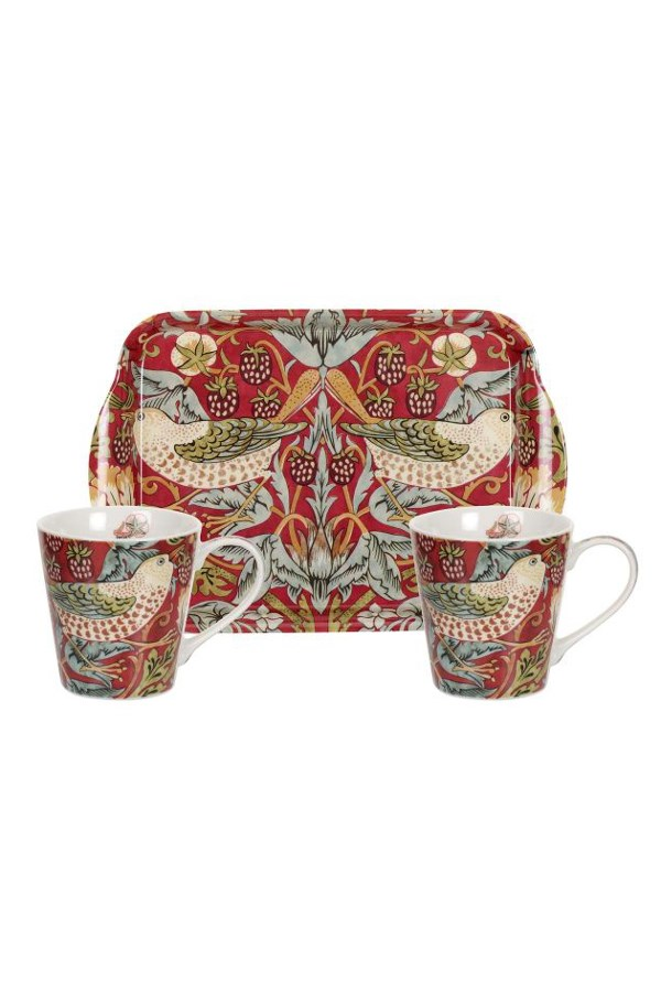 Morris and Co Strawberry Thief Mug & Tray Set