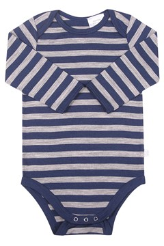 Merino Long Sleeve Bodysuit - Navy Stripe NAVY STRIPE 1