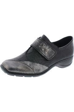 Leather Slip On Shoe BLACK SILVER 1