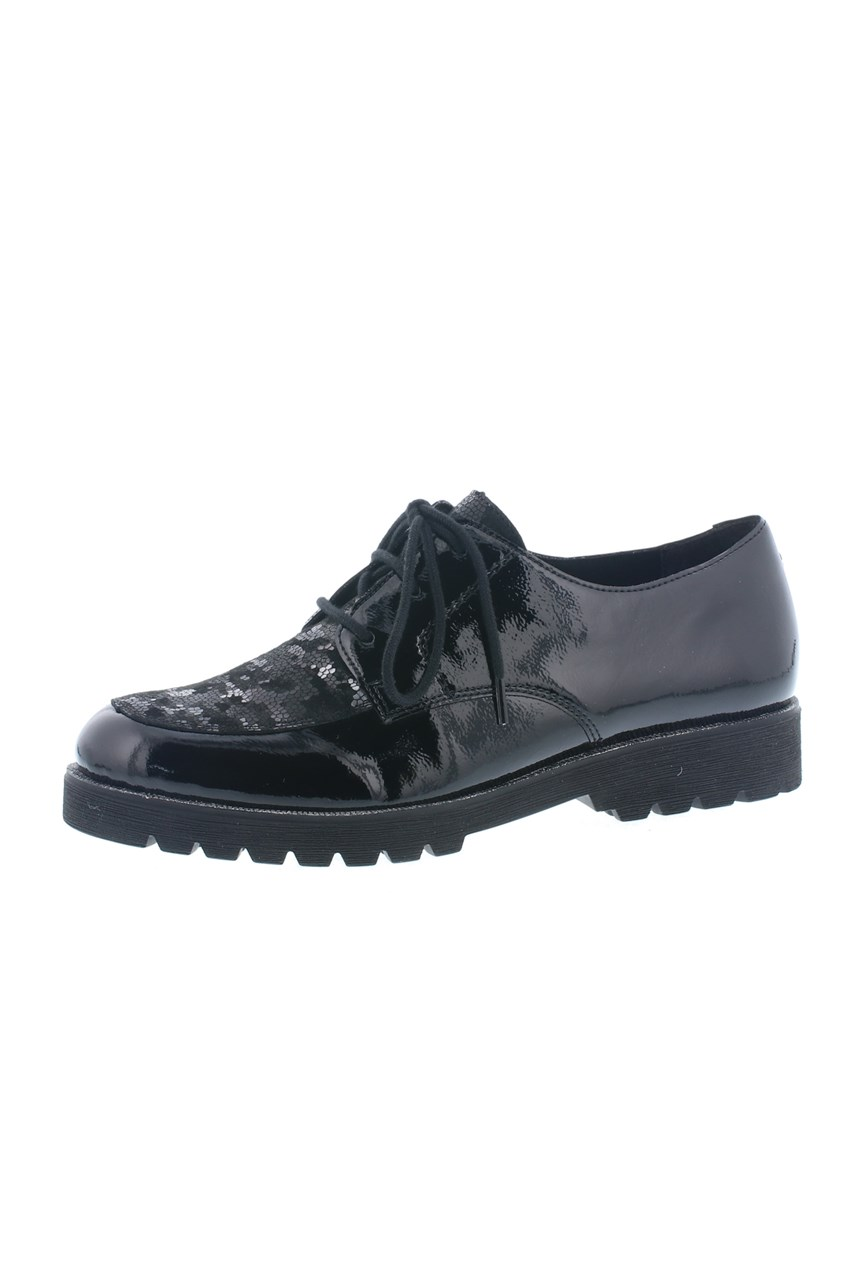 Patent Leather Metallic Lace Up