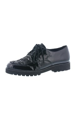 Patent Leather Metallic Lace Up BLACK 1