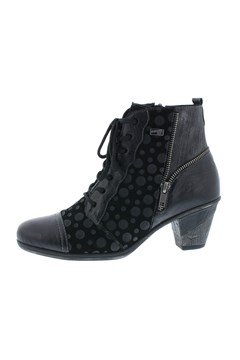 Leather Lace Up Ankle Boot BLACK 1