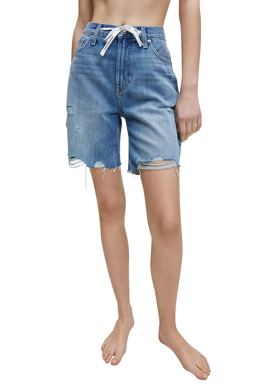 Distressed Denim Mom Shorts