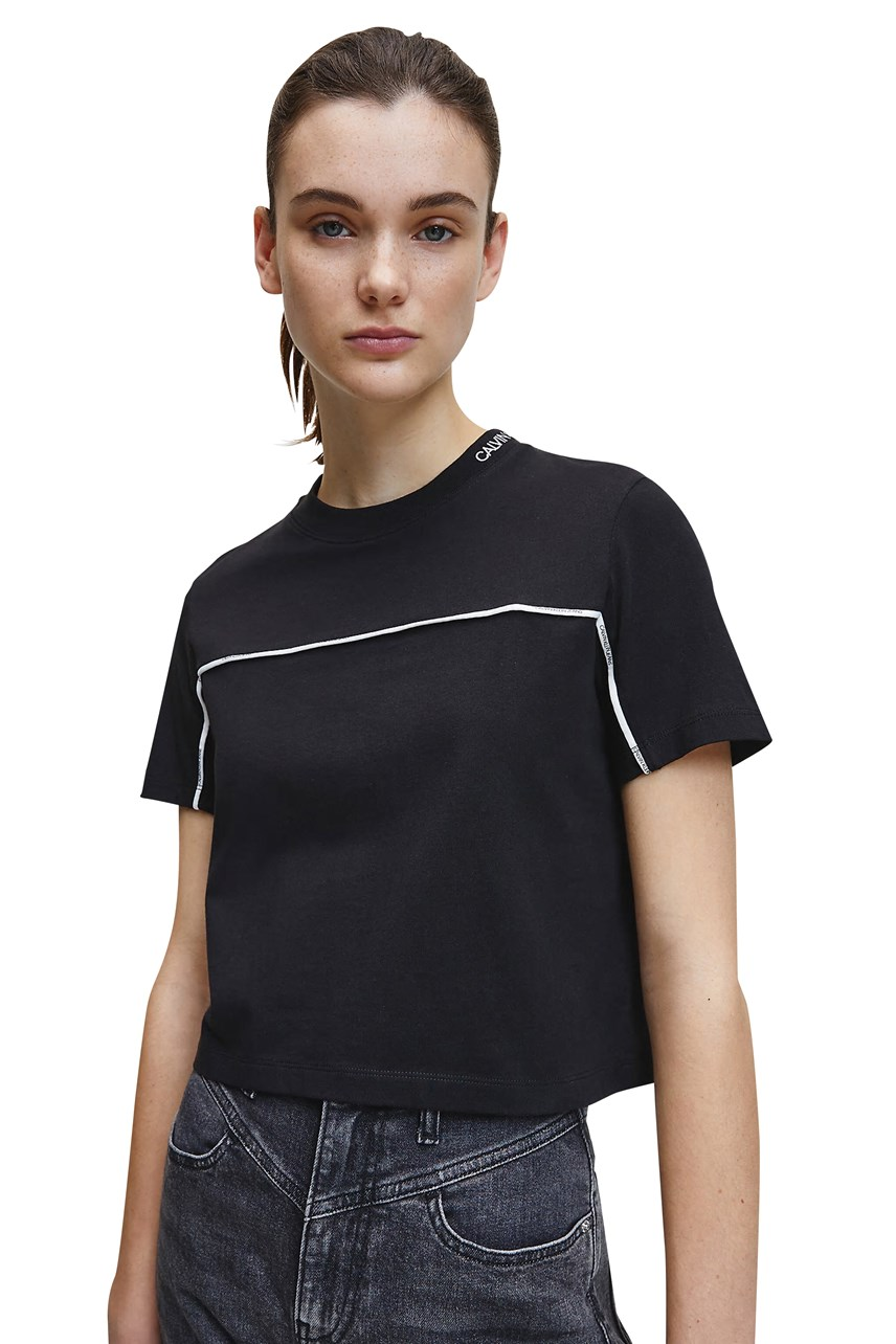 Cropped Logo Collar Tee