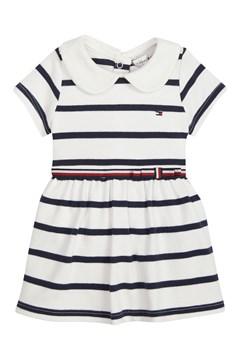 Baby Rugby Stripe Cotton Dress - blue