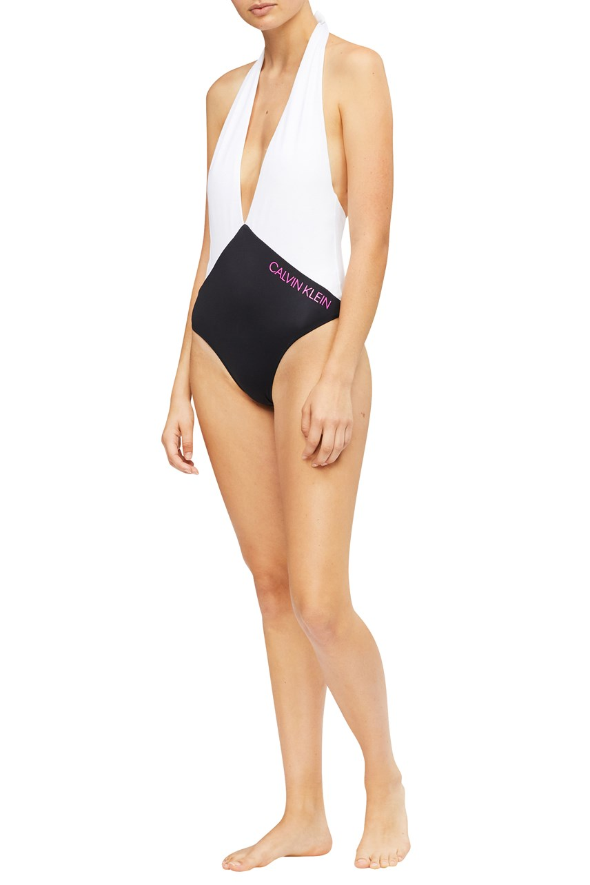 CK Blocking Plunge Front Swimsuit