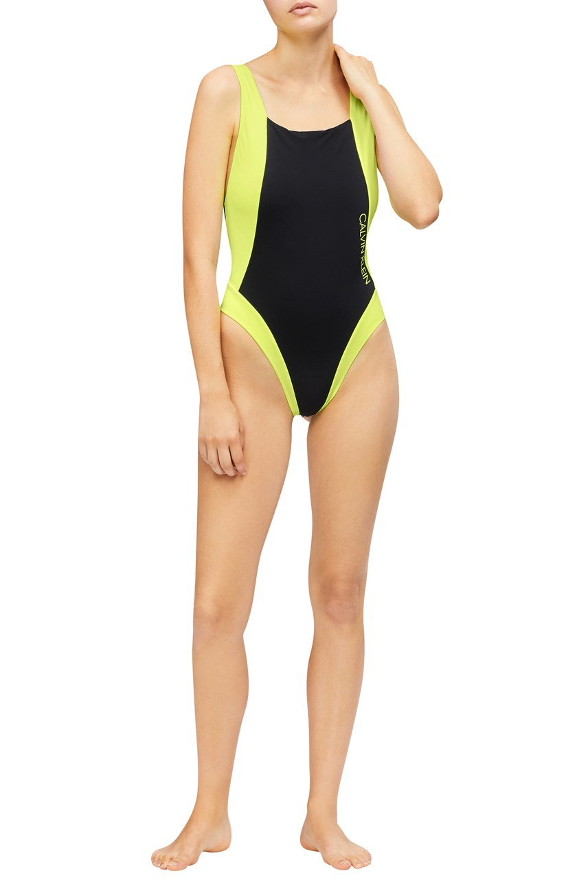 CK Blocking Scoop Neck Swimsuit