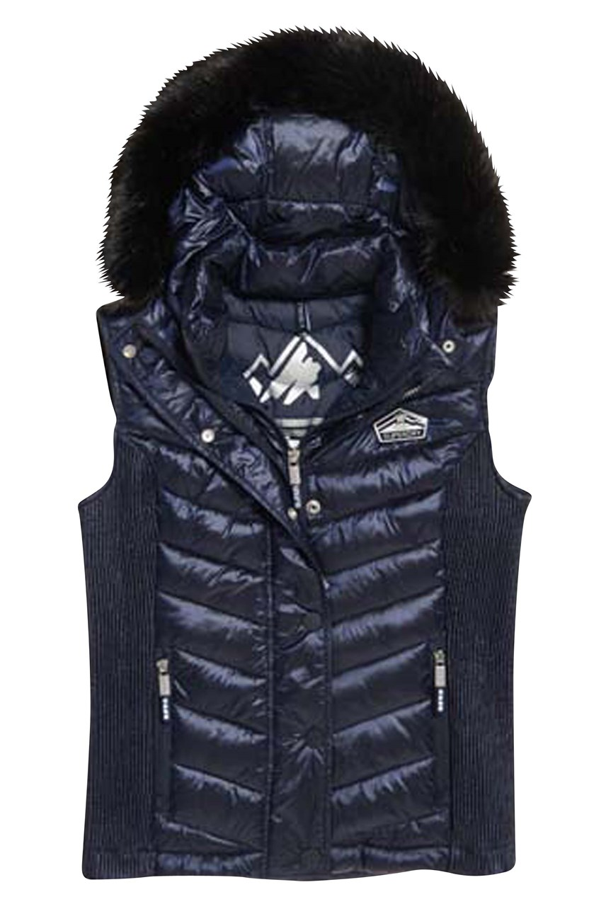 Women's Luxe Chevron Double Zip Vest