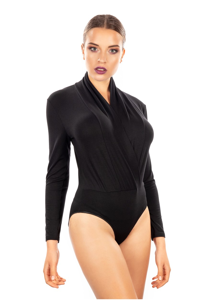 Long Sleeve Bodysuit With Crossover Neckline