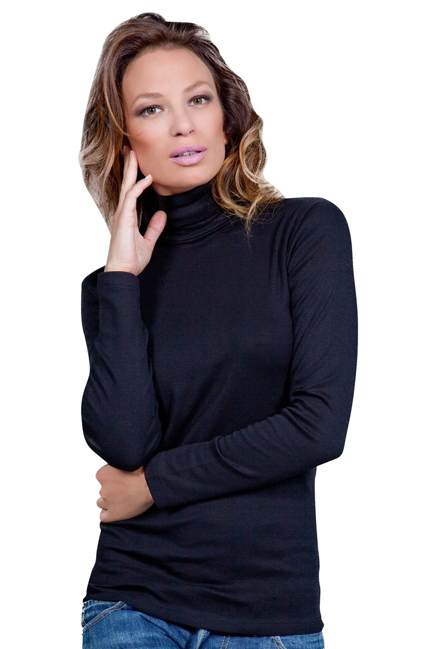 100% Brushed Cotton Long Sleeve Turtle Neck Top