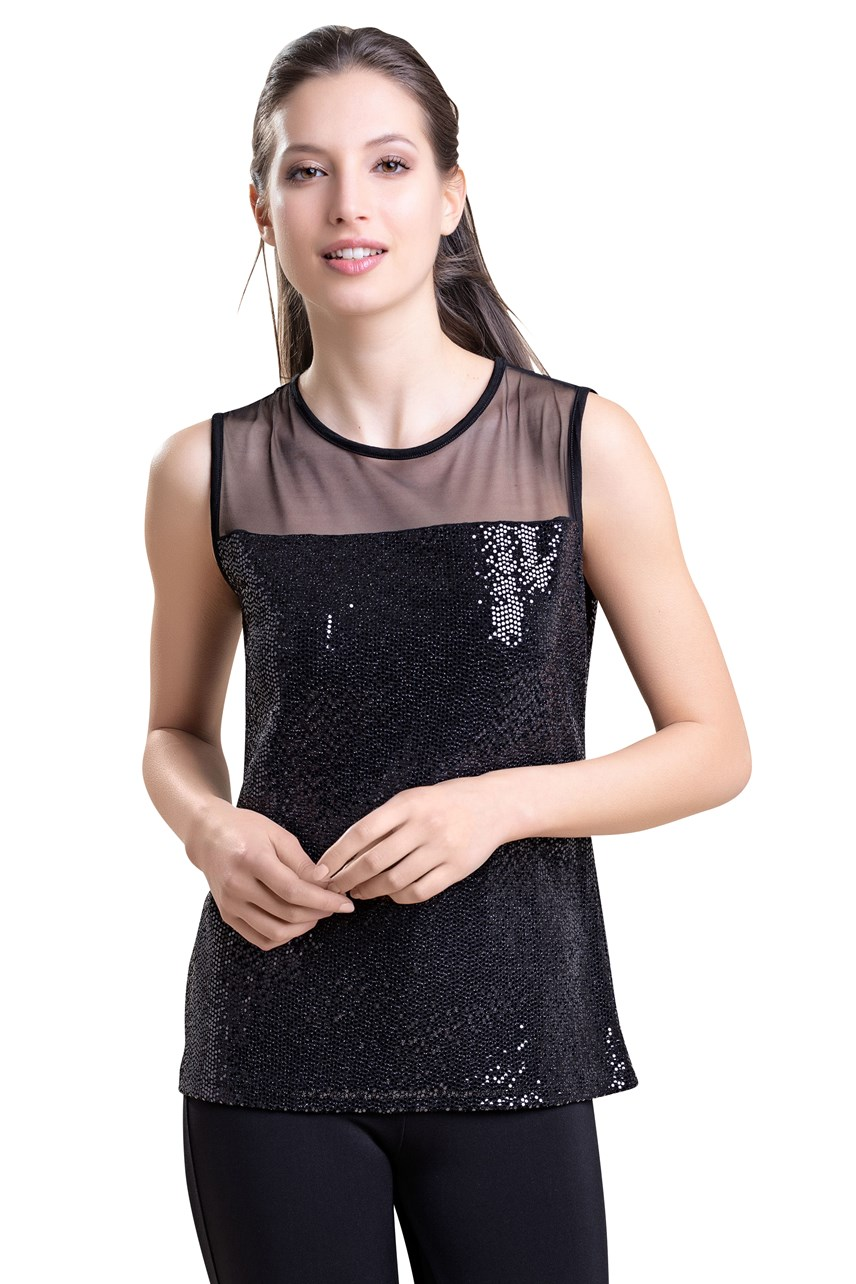 Sleeveless Tulle Yoke And Sequin Top