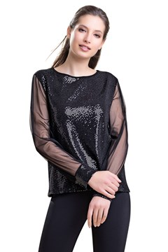Long Sleeve Sequin Top BLACK 1