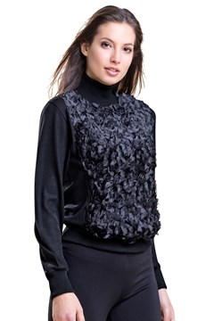 Long Sleeve Turtle Neck Floral Top BLACK 1