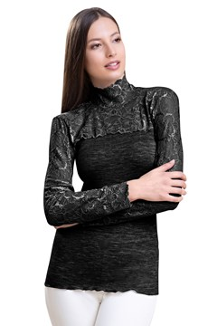 Long Sleeve Turtle Neck Lace Top BLACK 1