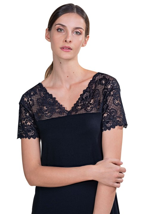 Modal Short Sleeve Nightdress - black