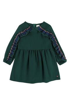 Ruffle Sleeve Dress GREEN 1