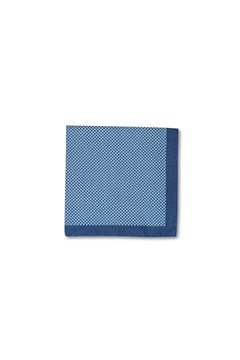 Basketweave Cotton Pocket Square BLU 1