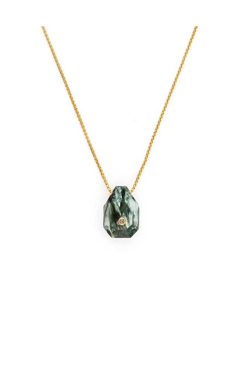 Earth - Seraphinite Fine Gold Necklace