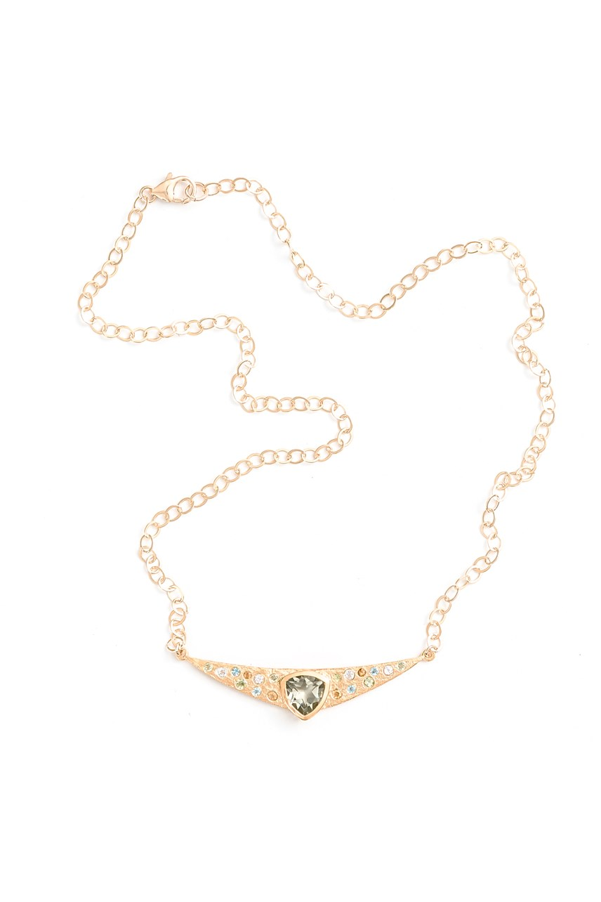 Trillion Necklace Gold with Green Amethyst