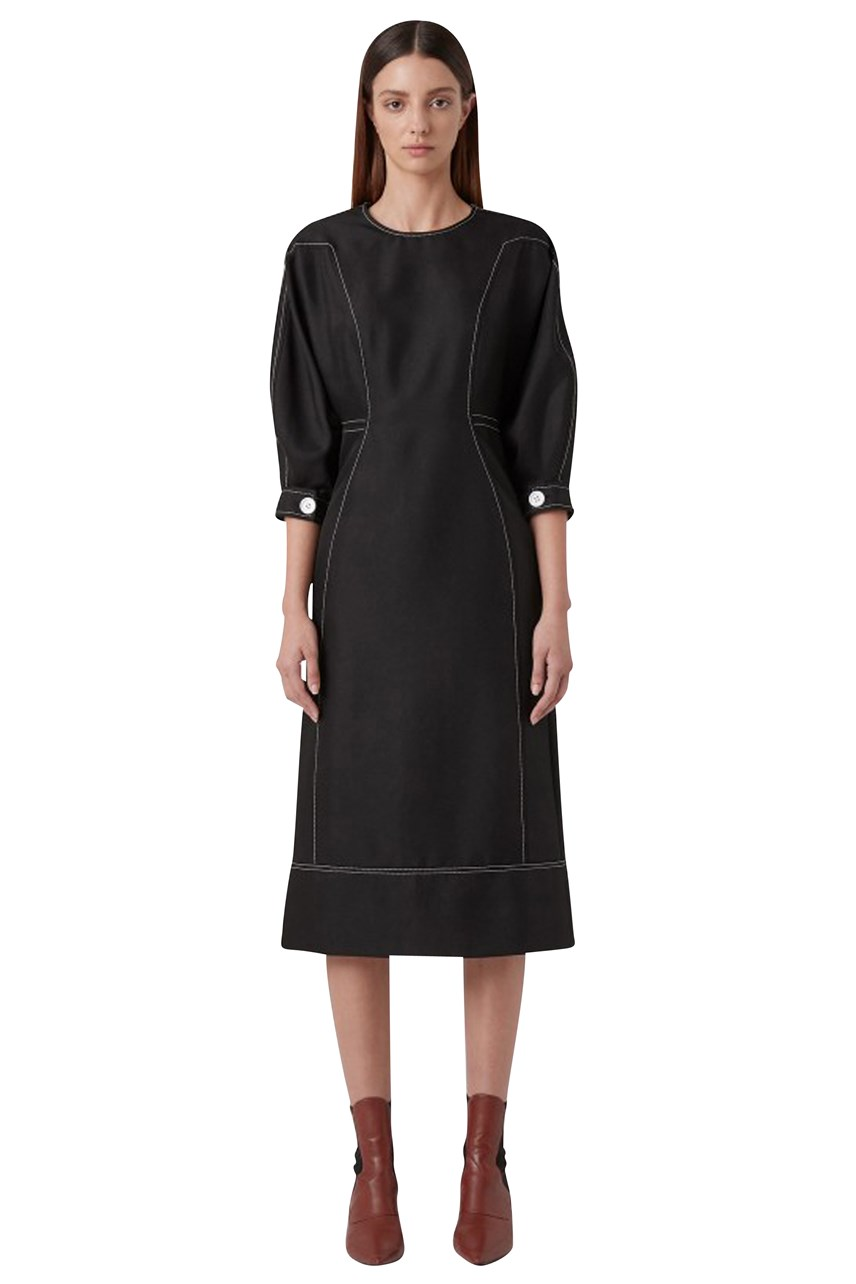 Faith Topstitch Twill Dress