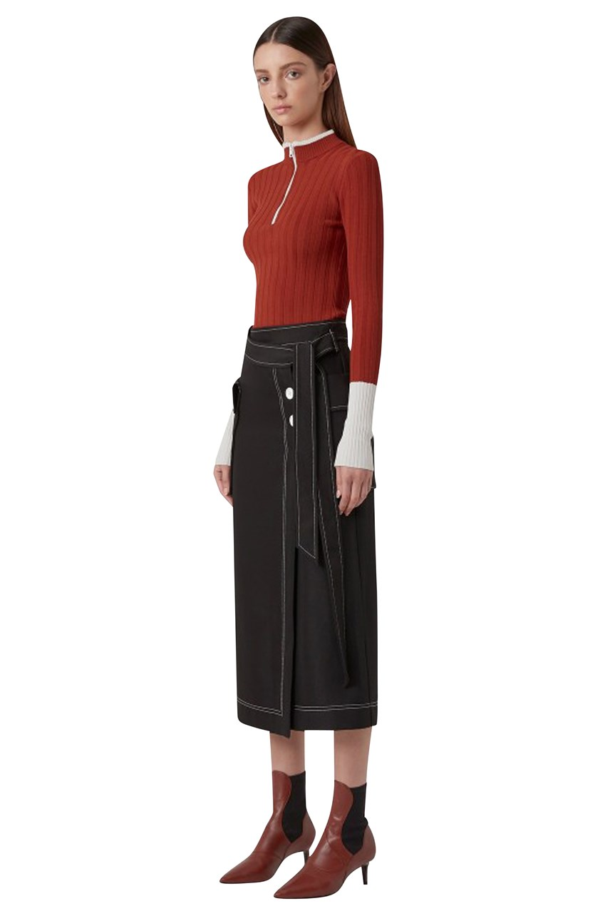 Faith Topstitch Twill Skirt