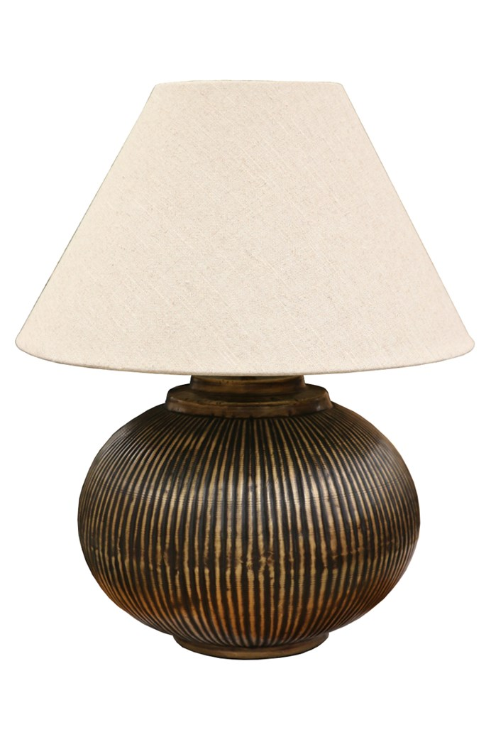 Brass Ball Lamp With Ridges