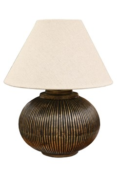 Brass Ball Lamp With Ridges -