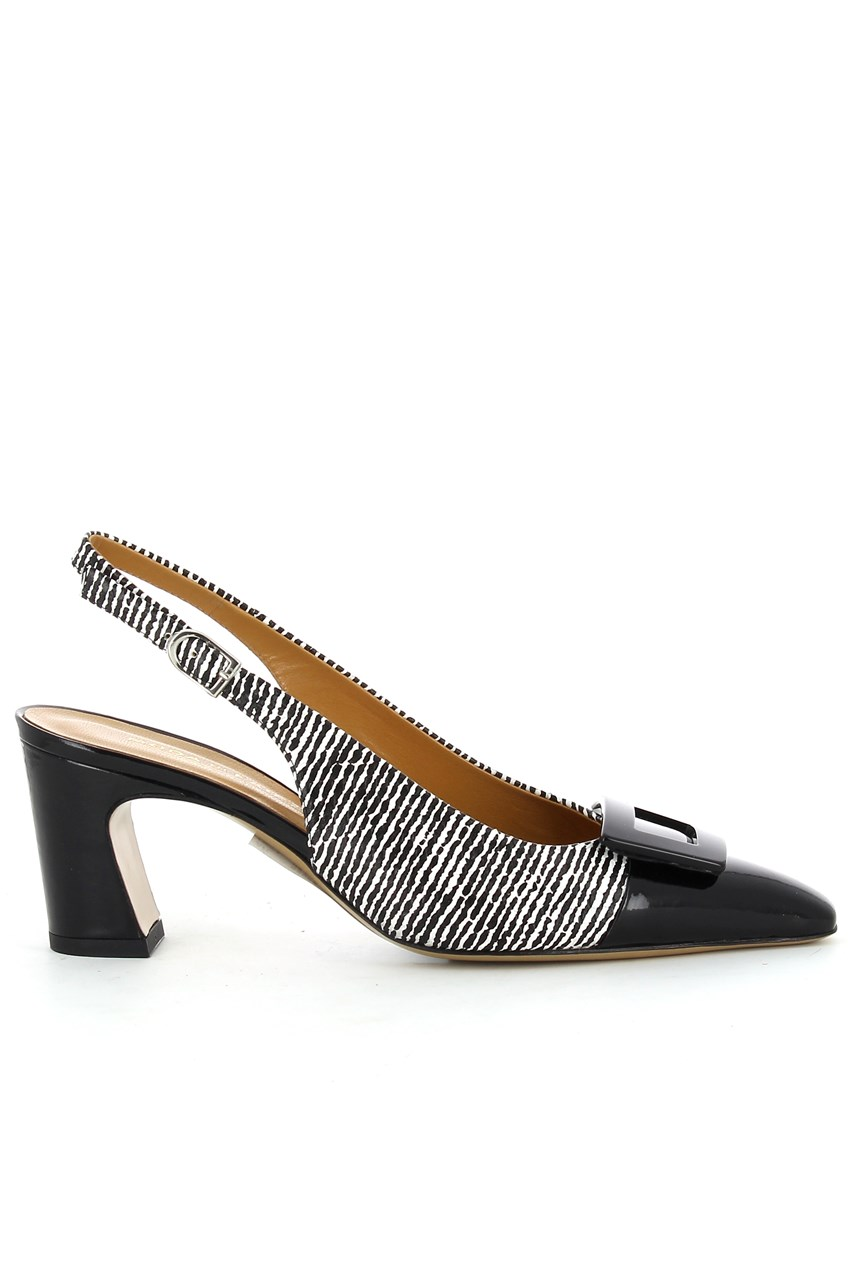Stripe Sling Back With Buckle